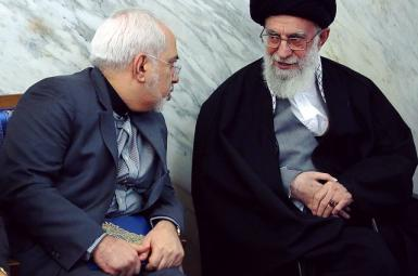 Iran's foreign minister Javad Zarif with Supreme Leader Ali Khamenei. Undated