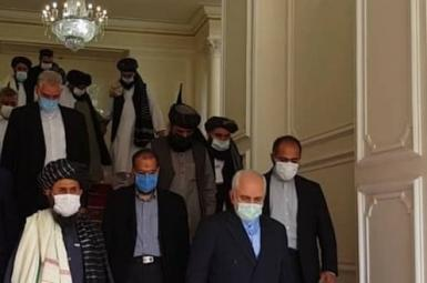 Iran's Mohammad Javad Zarif with the visiting Taliban delegation in Tehran. January 31, 2021