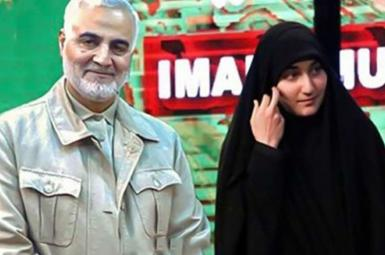 An undated photo of Qasem Soleimani with his daughter Zeinab