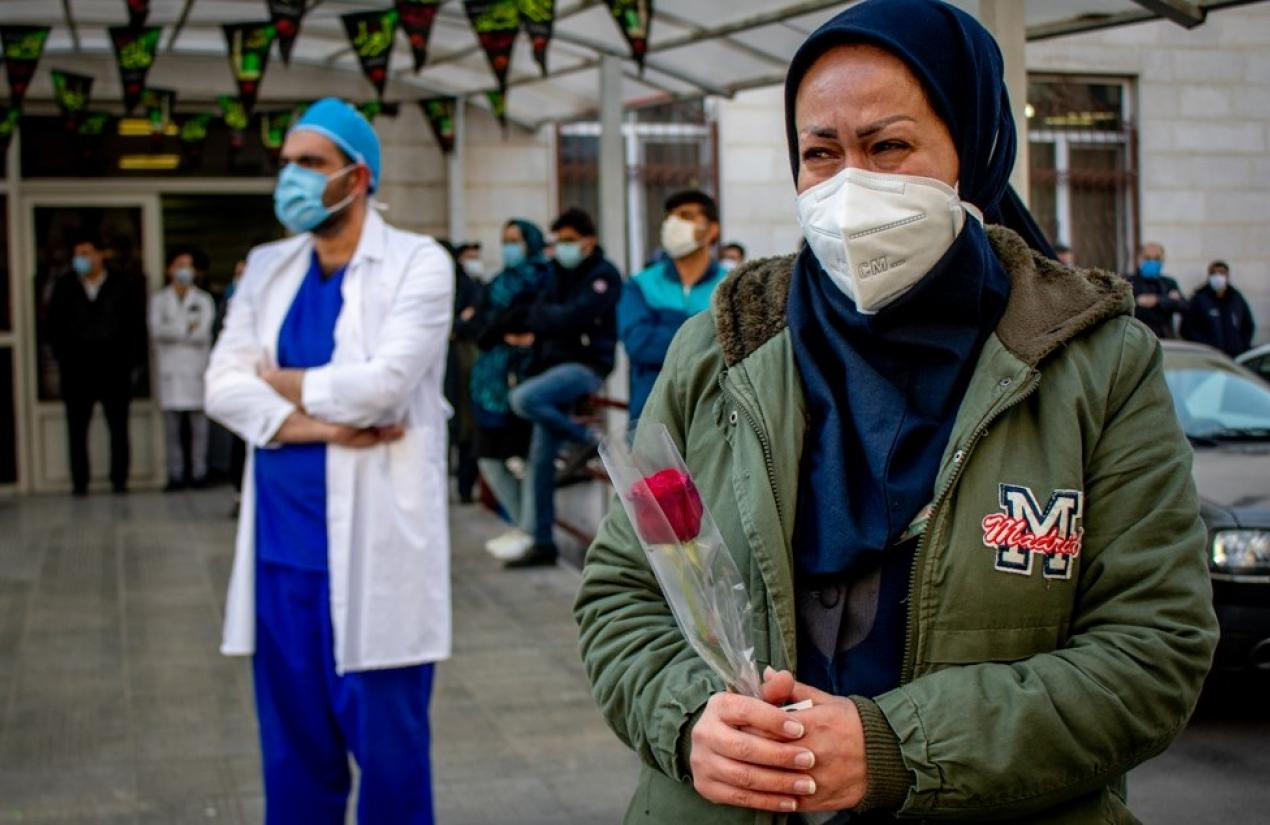 Funeral of a health worker who died of COVID in Iran. February 24, 2021
