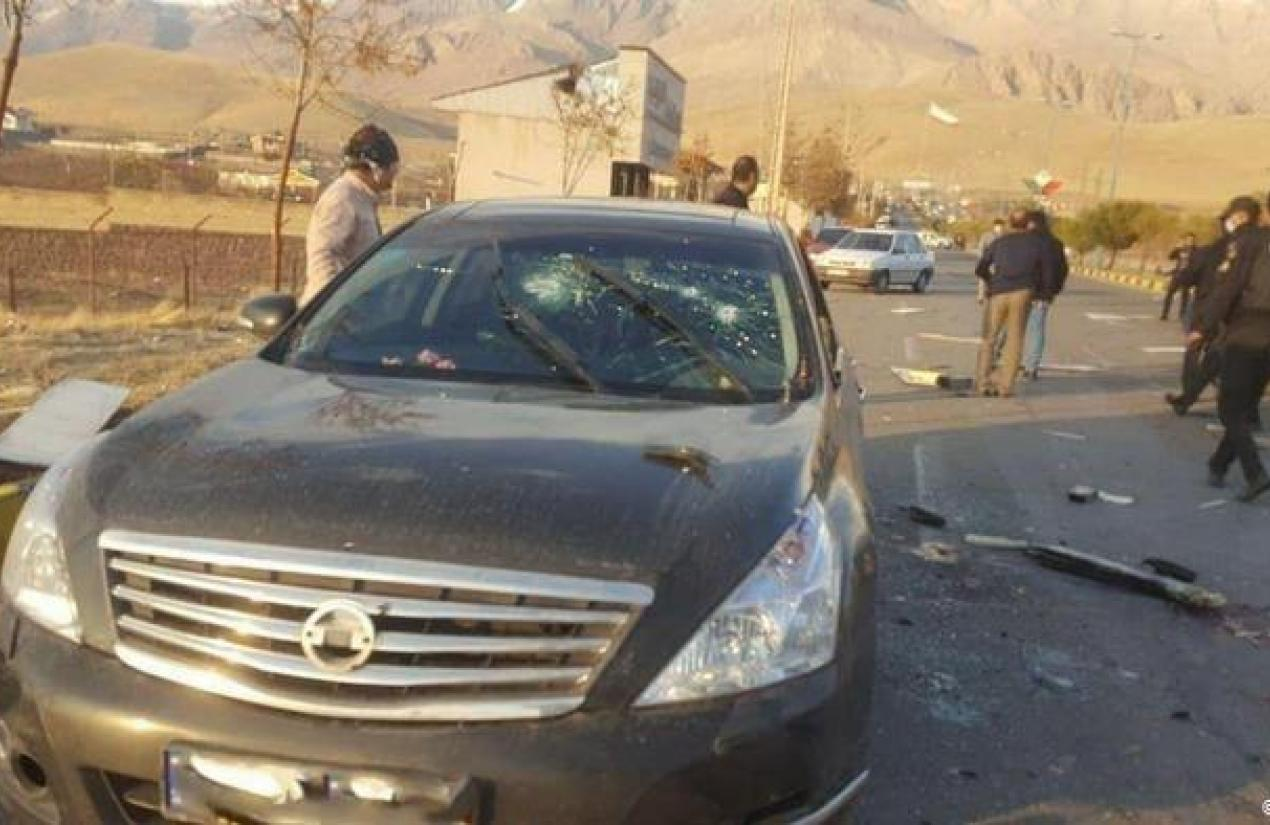 A bullet-ridden car at the assassination scene of Iran's top nuclear operator. November 27, 2020