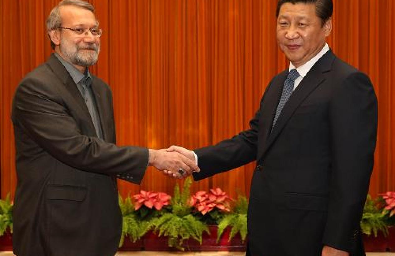 Ali Larijani meeting China's president. Courtesy Photo