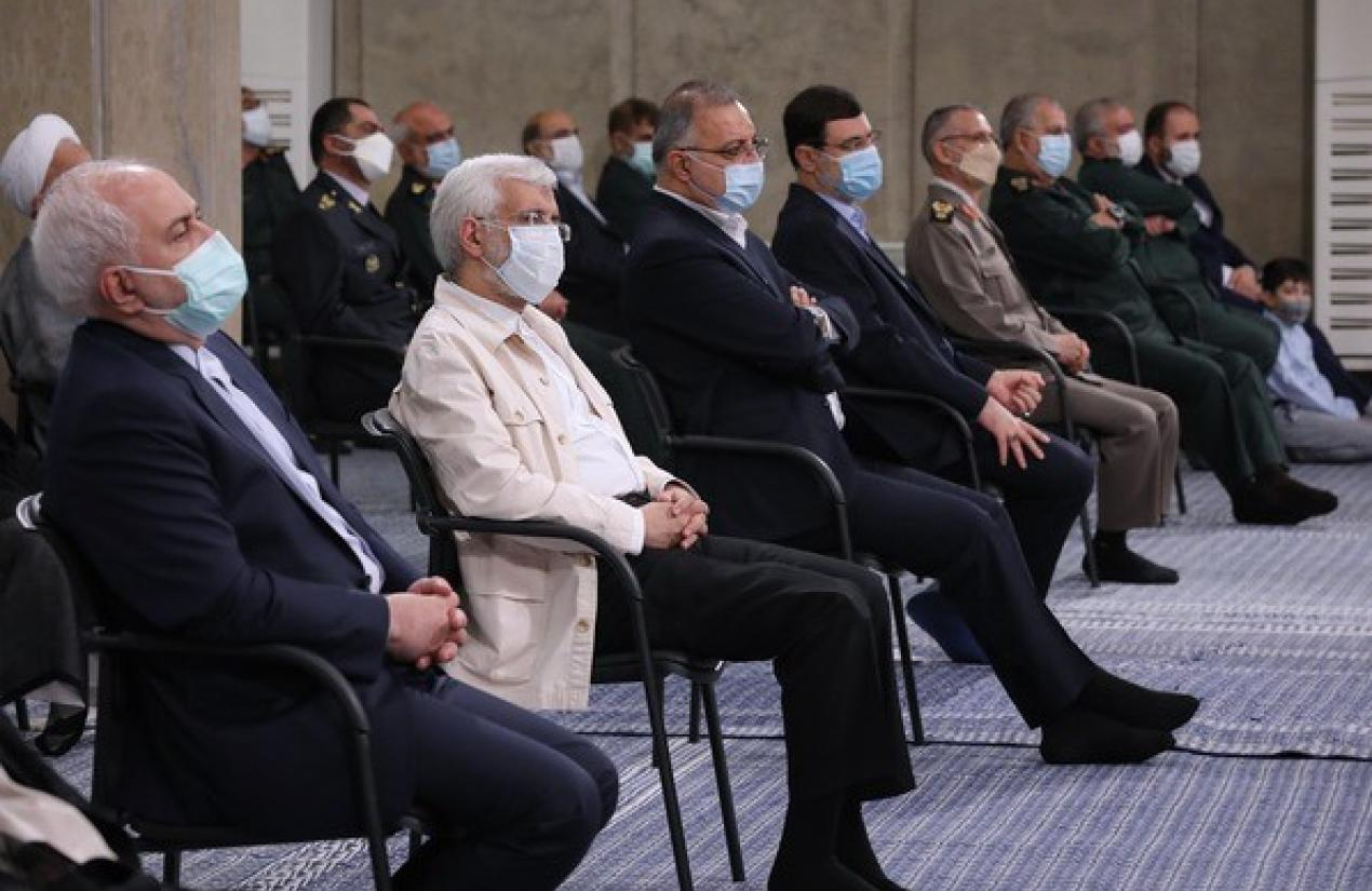 Former foreign minister Mohammad Zarif at Raisi's ceremony. August 3, 2021