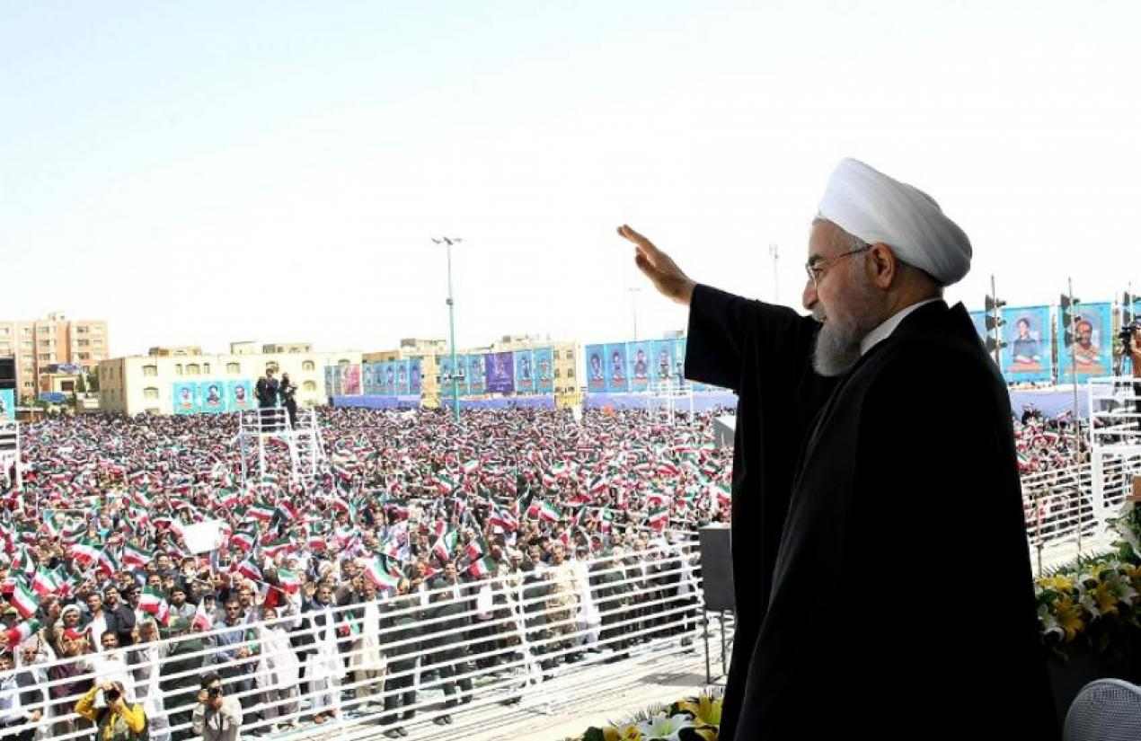 Hassan Rouhani visiting greeting the people during a visit in Kerman. FILE