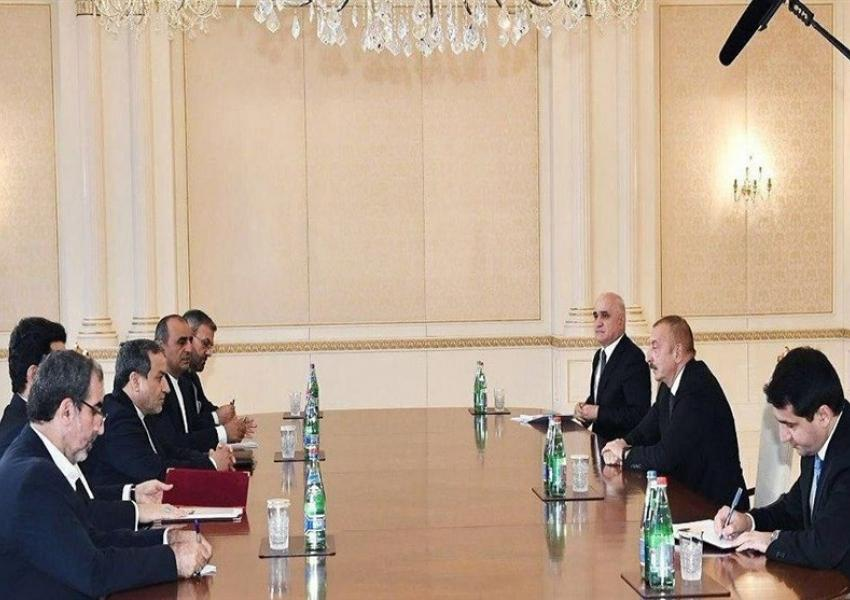 Iran's deputy foreign minister meeting with Azerbaijan's president on the Karabagh conflict. October 28, 2020