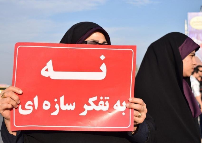 تجمع مردم اهواز در مخالفت با انتقال آب کارون - دیماه ۹۶