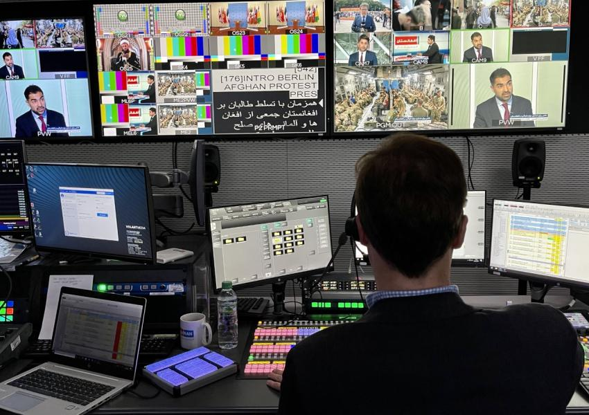 Afghanistan International TV crew at their broadcast station. FILE