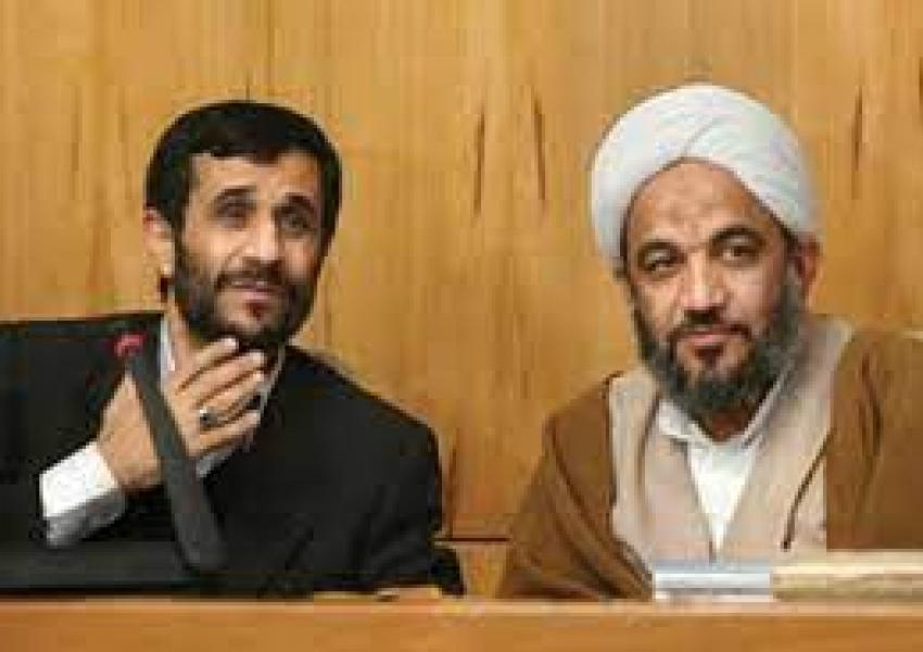 An old photo showing Ahmadinejad with his mentor Morteza Agha Tehrani. Undated