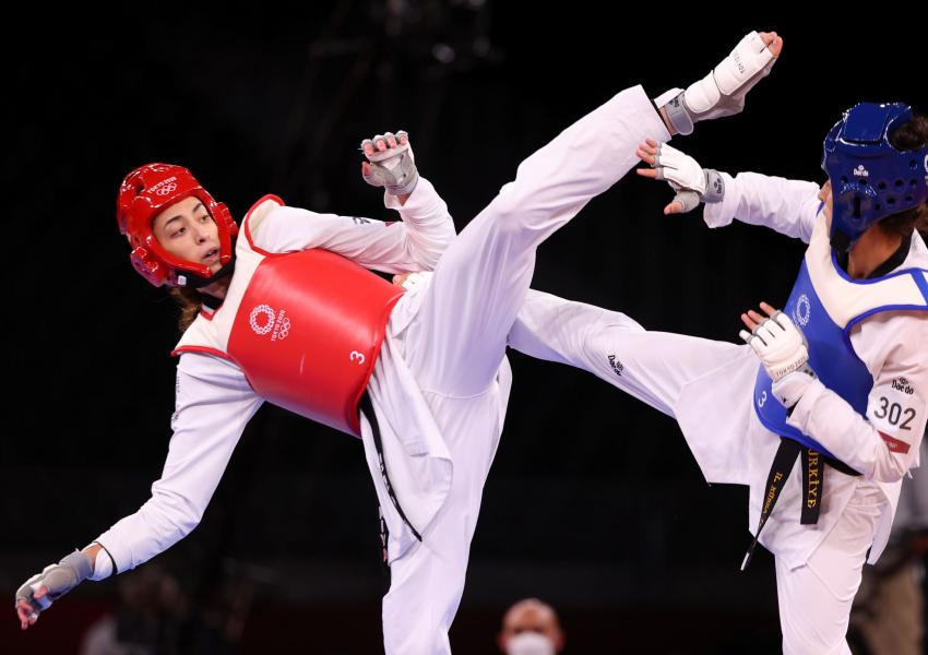 Kimia Alizadeh in a bout during Tokyo Olympics. July 25, 2021