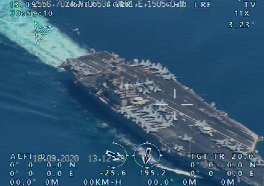 Photo released by Iran's military claiming its drones watched US Navy ships. September 23, 2020