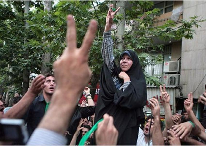 Faezeh Hashemi during the Green Movement protests in 2009-2010