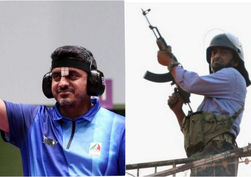 Iran's controversial Olympic Gold Medal winner Javad Foroughi (L) and an IRGC gunman resembling him.