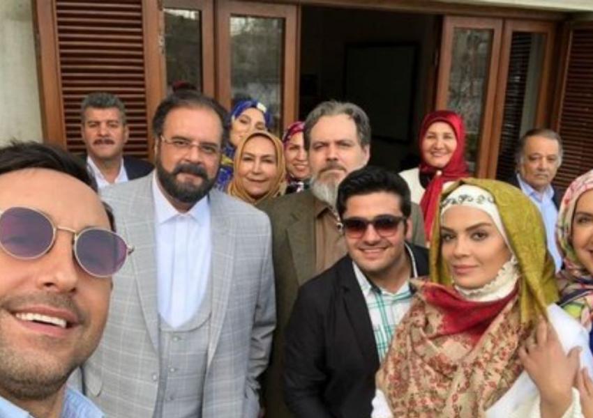 Cast and crew of Iranian TV series Gando. FILE
