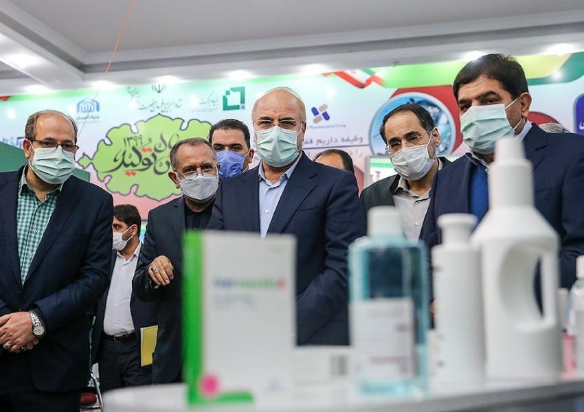 Parliament Speaker Mohammad Bagher Ghalibaf at an exhibit. December 22, 2020
