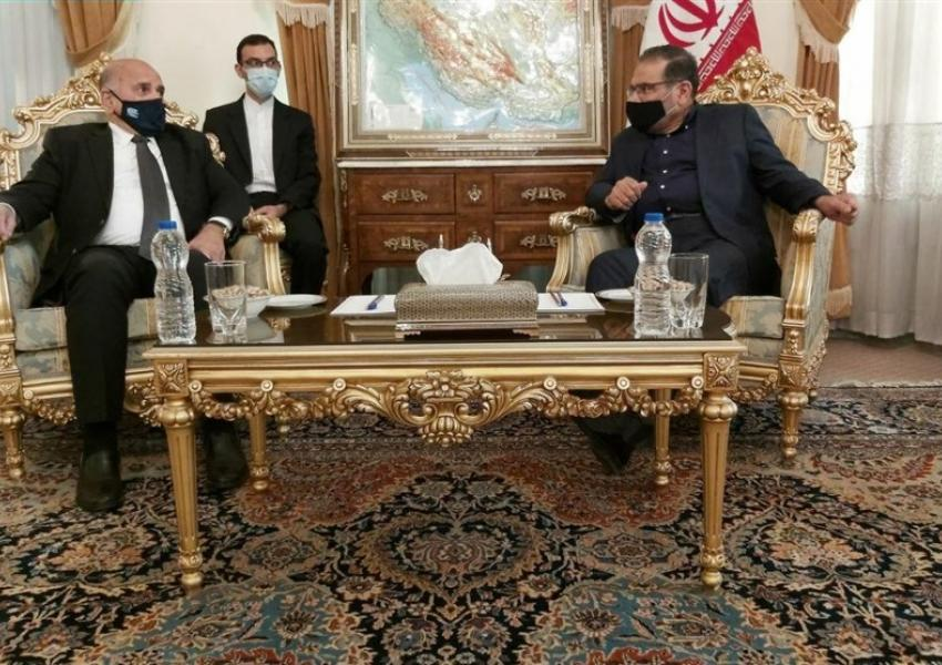 Iraqi FM Fouad Hussein meeting Iran's Ali Shamkhani in Tehran. September 27, 2020
