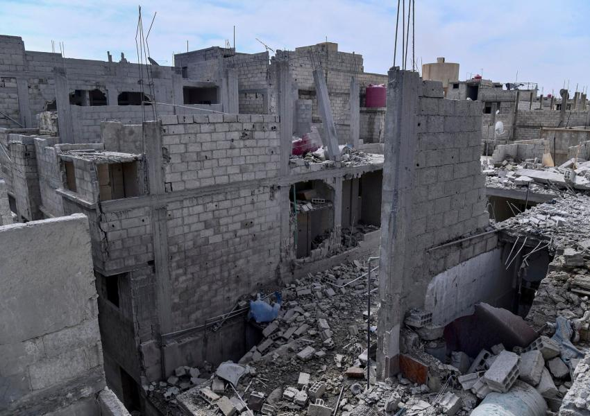 A Syrian handout photo allegedly showing damage by an Israeli airstrike. April 22, 2021