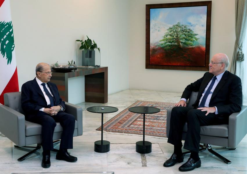 Lebanon's President Michel Aoun meets with Prime Minister-Designate Najib Mikati, at the presidential palace, Lebanon. July 28, 2021