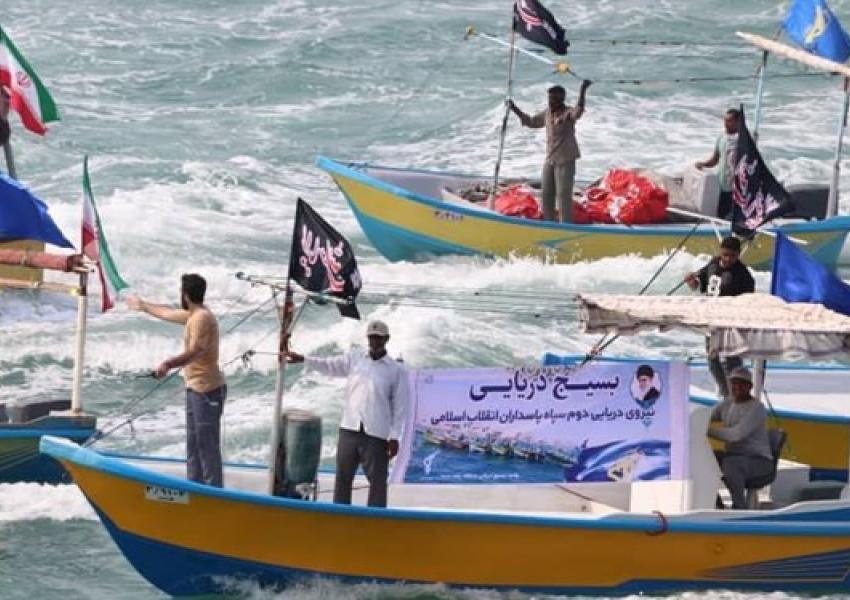 "Naval parade of ""Baseej"" fishing boats in Bandar Abbas, September 22, 20121"