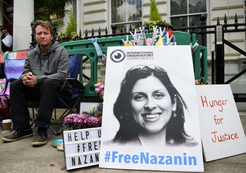 Richard Ratcliff outside Iran's embassy in London protesting the long detention of his wife in Iran. 2019