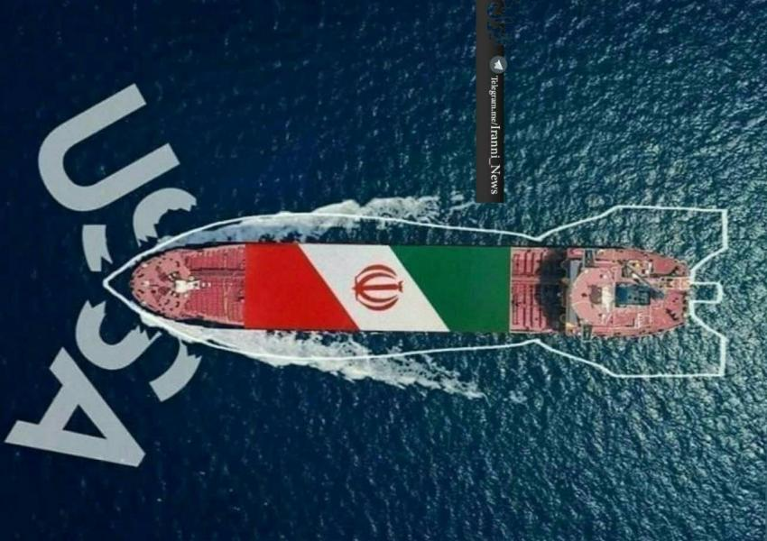 Social media poster circulating on August 19 depicting an Iranian tanker busting US sanctions.