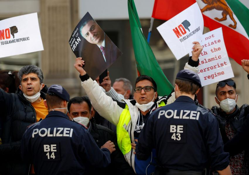 Iranians protesting against the Islamic Republic outside the venue of nuclear talks in Vienna. April 9, 2021