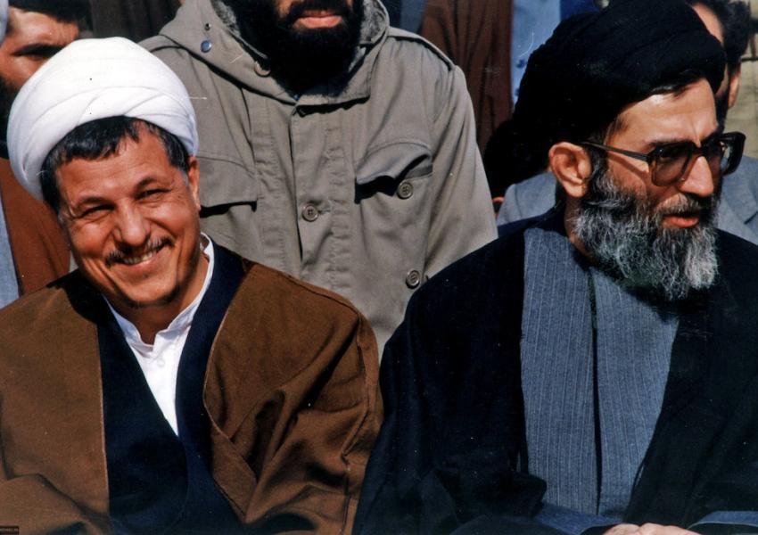 Hashemi Rafsanjani (L) and Ali Khamenei in late 1980s or early 1990s.
