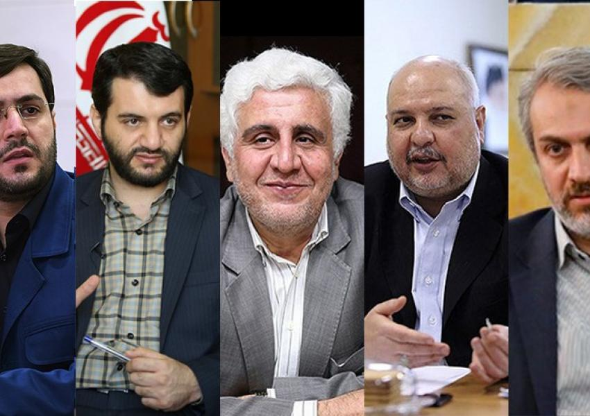 The team of five Iran's Presdient Raisi has appointed to draw his economic plan, with Farhad Rahbar in center.