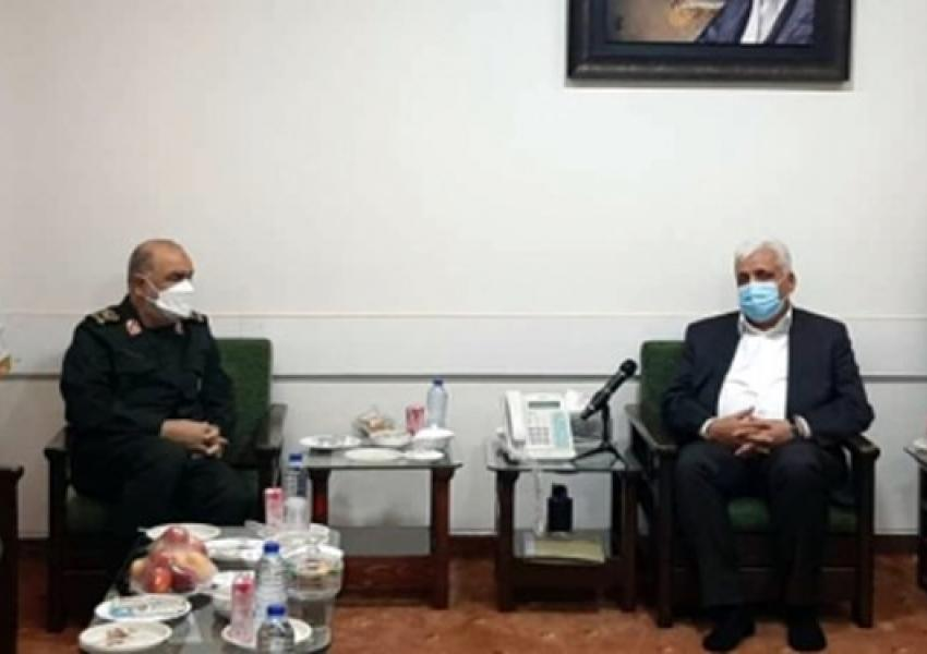 Hossein Salami, commander of IRGC meeting with Falih-Al Fayyadh in Tehran. August 8, 2021