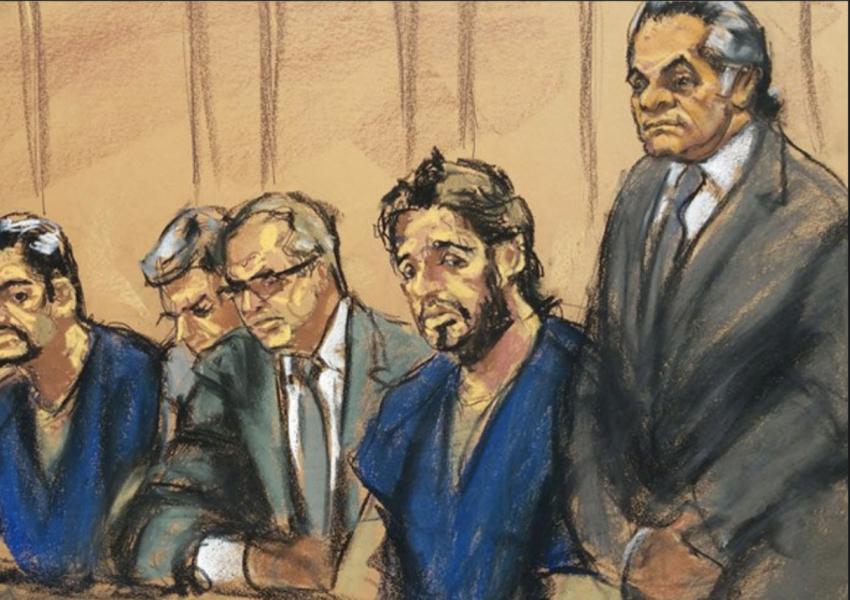 رضا ضراب در یکیاز جلسات محاکمه
