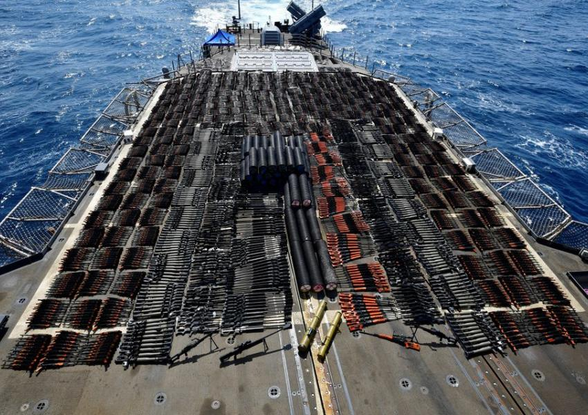 Photo showing weapons seized by US Navy in Arabia Sea. May 8, 2021