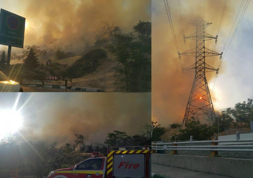 آتش سوزی گسترده در منطقه اوین